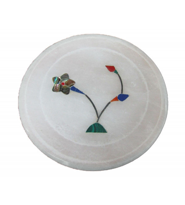 Alabaster Coaster Size 3.5 Inch With Assorted Designs and Colors