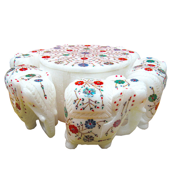 Alabaster Round Elephant Box Size 12 Inch