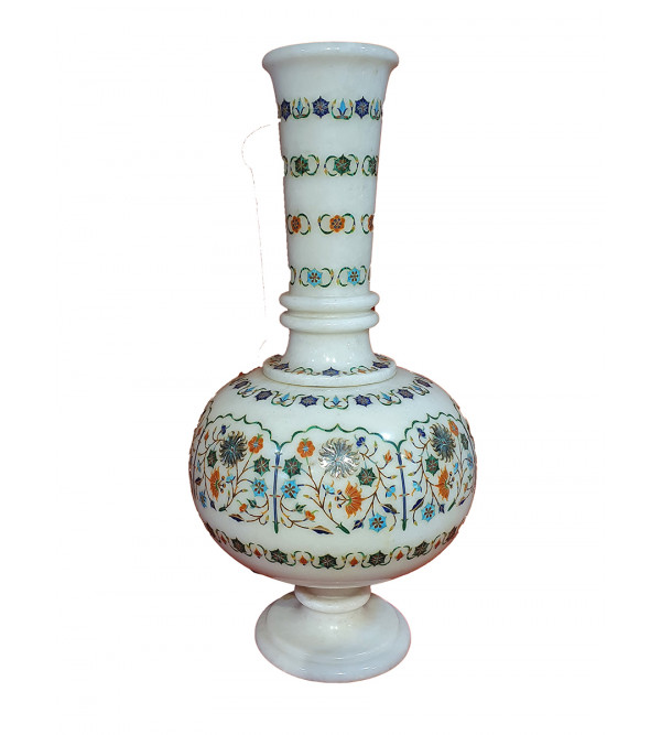 Marble Vase With Semi Precious Stone Inlay