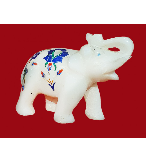 Marble Elephant With Semi Precious Stone Size 3 Inch