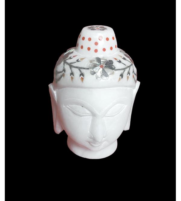 Alabaster Budha Head With Semi Precious Stone Inlay Size 4 Inch