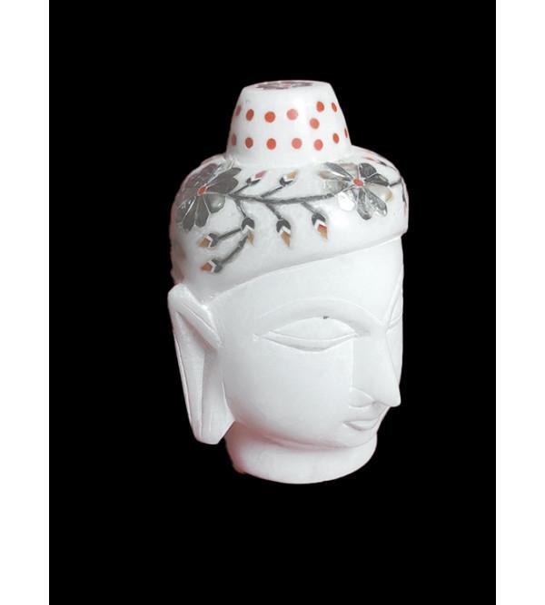 Alabaster Buddha Head With Semi Precious Stone Inlay Work Size 4 Inch