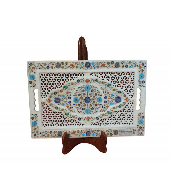 Marble Tray With Semi Precious Stone Inlay Work Size 18x12 Inch