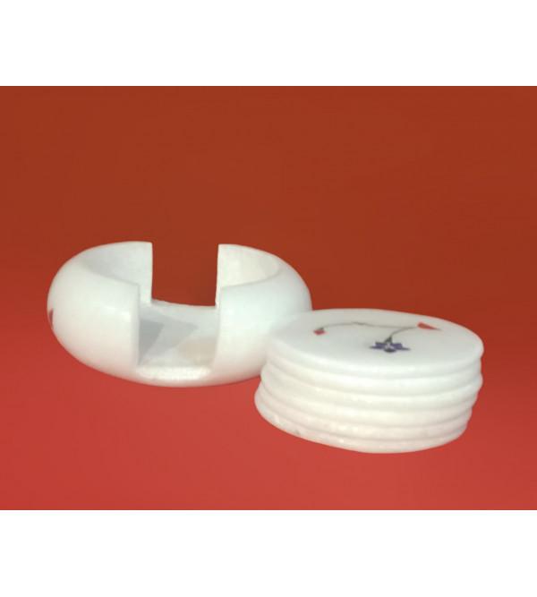 Alabaster Coaster Set of 6 Pcs With Semi Precious Stone Inlay Size 3.5 Inch