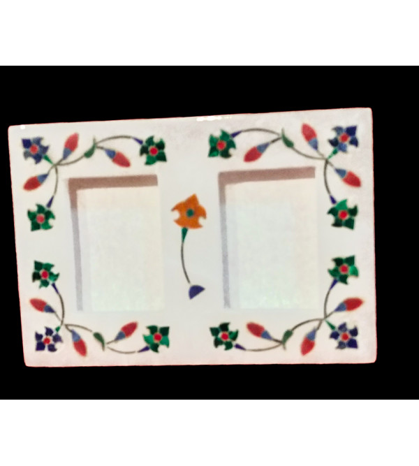 Alabaster Phot Frame With Semi Precious Stone Inlay Size 5x3.5 Inch