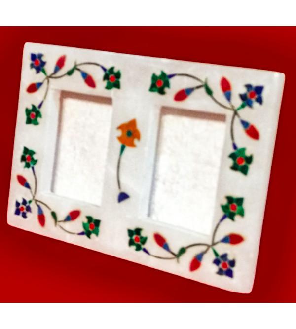 Alabaster Photo Frame With Semi Precious Stone Inlay Work Size 5x3.5 Inch