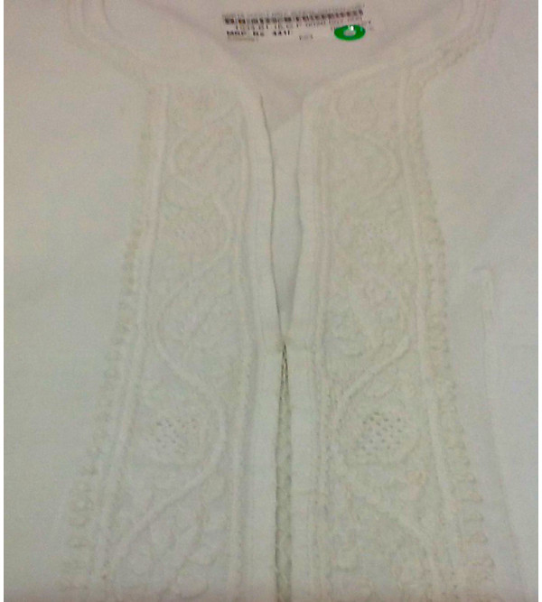 Chikan Embroidery Cotton Short Kurta Half Sleeve Size 38 Inch