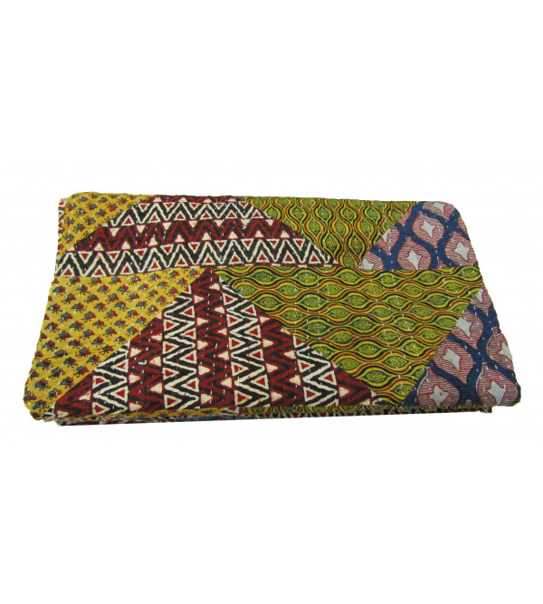 Bed Cover Ajrakh Gudari  Size 90 X108 Inch