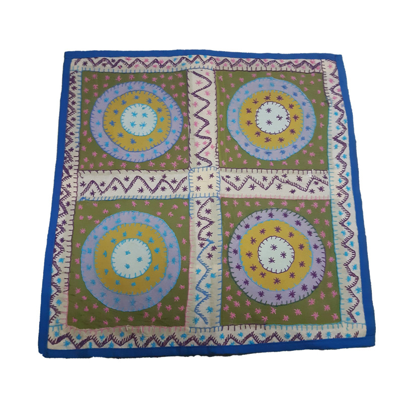 Mirror Work Cotton Cushion Cover With Embroidery Size 16x16 Inch