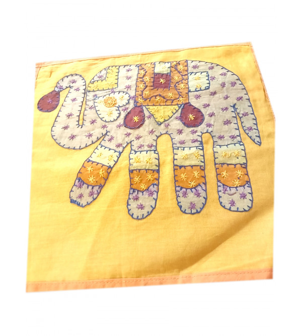Applique Work Cotton Cushion Cover Size 12x12 Inch