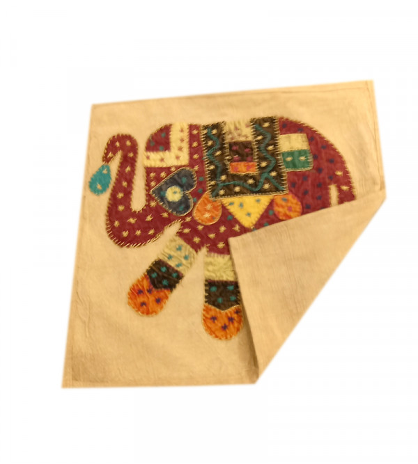Applique Work Cotton Cushion Cover Size 16x16 Inch