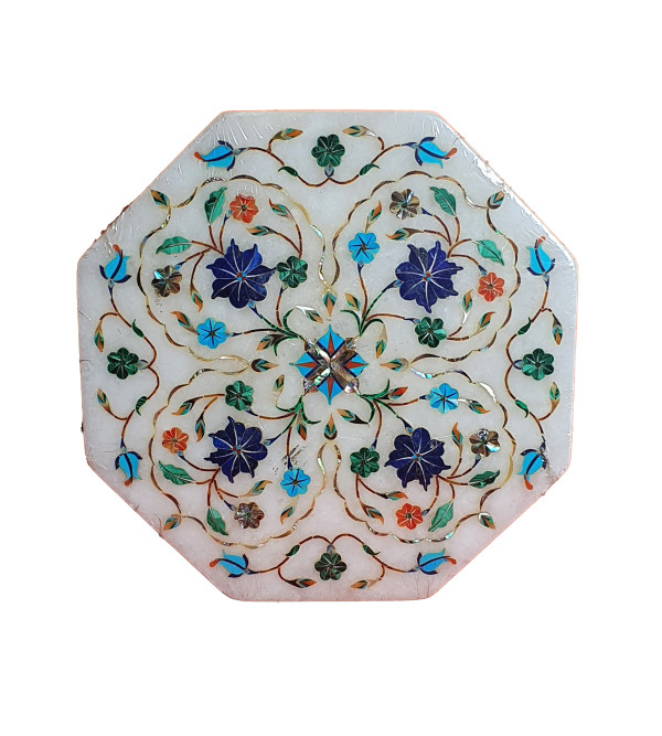 Marble Box with semi precious stone inlay Size 6x6 inch