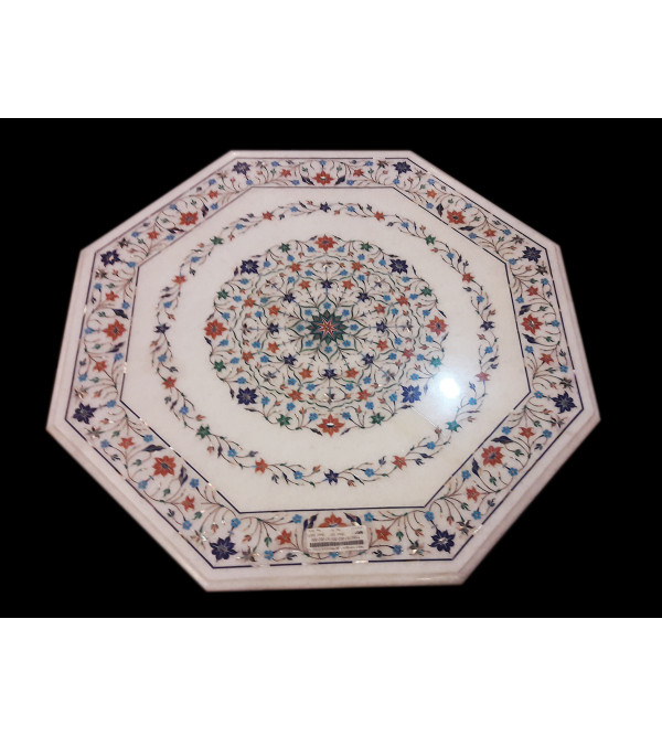 Table Top With Semiprecious Stone Marble Top
