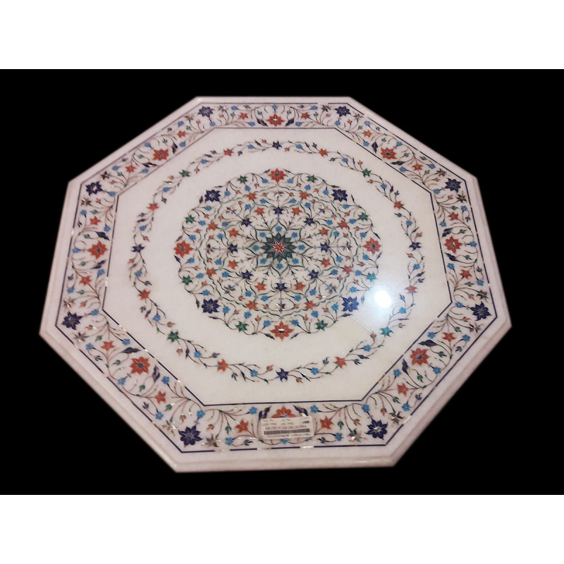 TABLE TOP WITH SEMI PRECIOUS STONE MARBLE TOP S-24x24 inch.