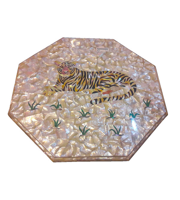 Table Top With Semi Precious Stone Marble Top