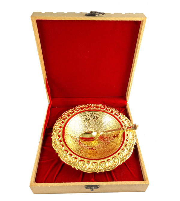 Handicrafts Brass Gold Plated Bowl Set 6.5 Inch