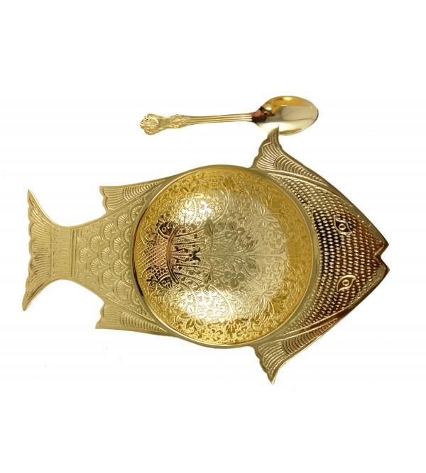 HANDICRAFT BRASS FRUIT FISH DISH 10 INCH GOLD PLATED