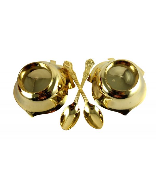HANDICRAFT BRASS BOWL SET GOLD PLATED 4 INCH