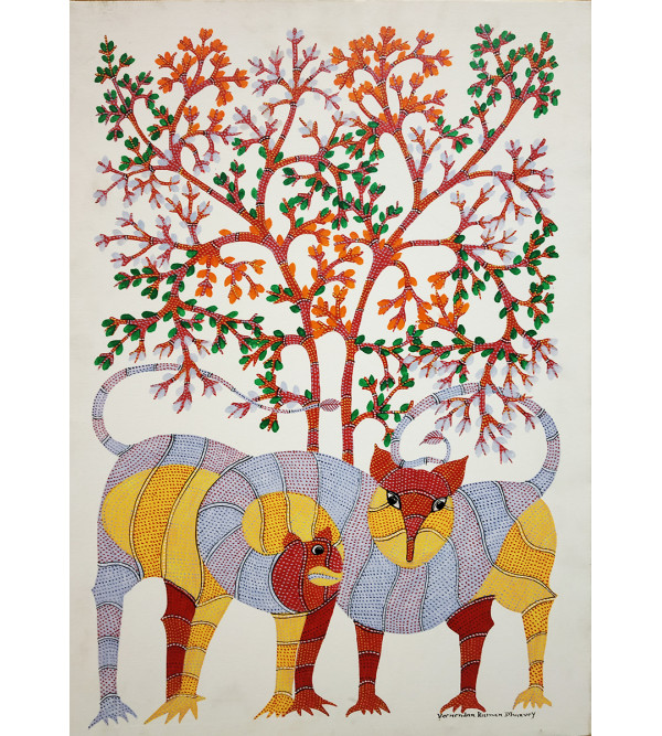 Gond painting with frame size 27x29(inch)