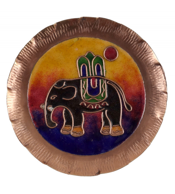 HANDICRAFT WALL PLATE 5 INCH  COPPER ENAMELED