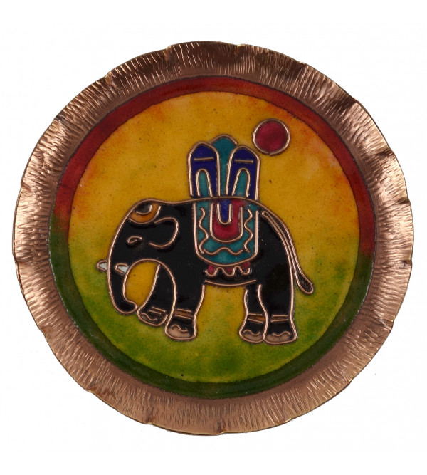 HANDICRAFT WALL PLATE 6 INCH COPPER ENAMELED
