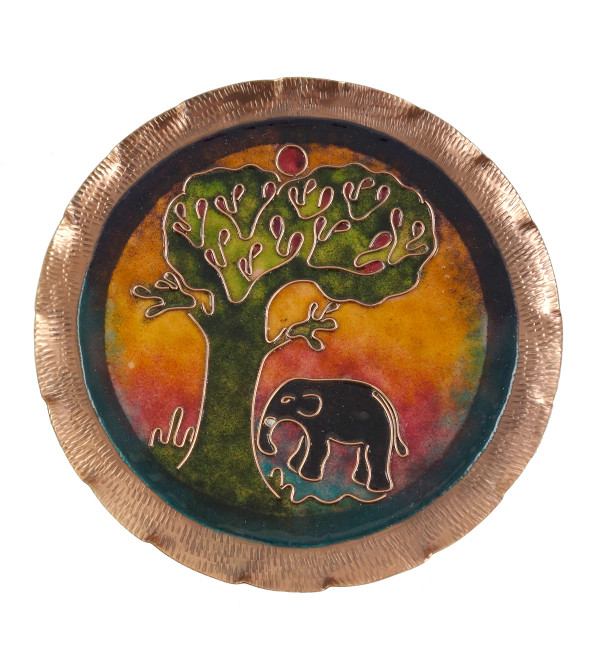 HANDICRAFT WALL PLATE 7 INCH COPPER ENAMELED