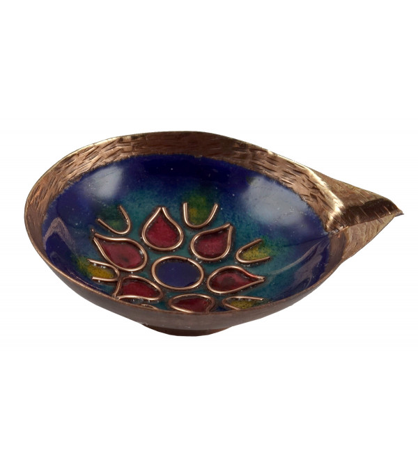 HANDICRAFT DIYA COPPER ENAMEL 3 INCH