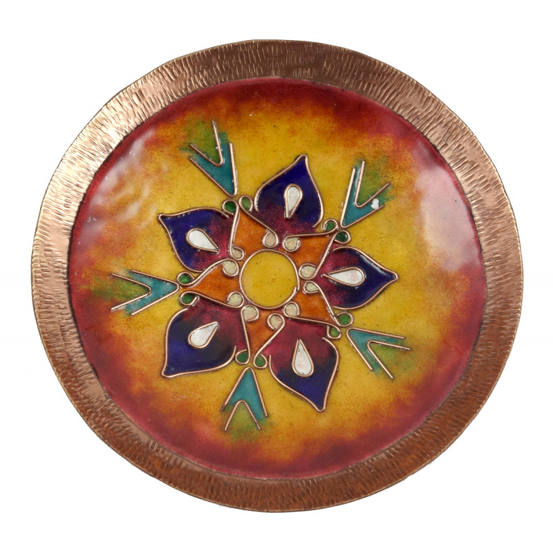 HANDICRAFT BOWL COPPER ENAMELED WORK 7 INCH