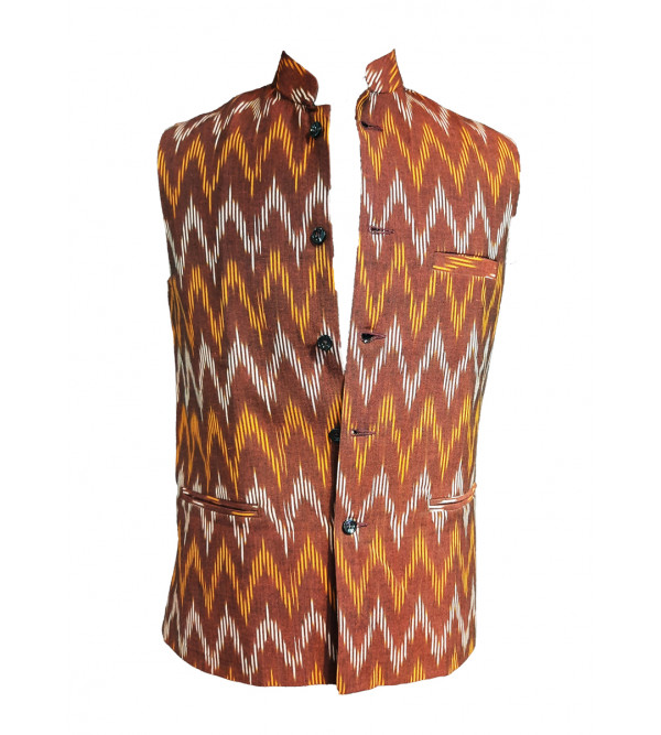 Cotton Ikat Nehru Jacket size 40 Inch