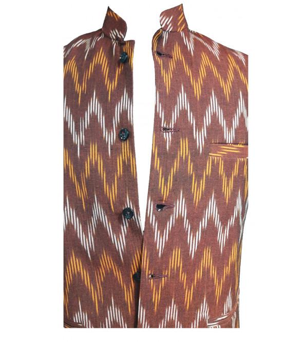 Cotton Ikat Nehru Jacket size 40 Inch