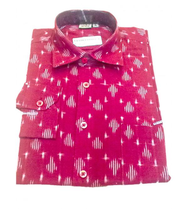 Cotton Ikat Shirt Full Sleeve Size 38 Inch