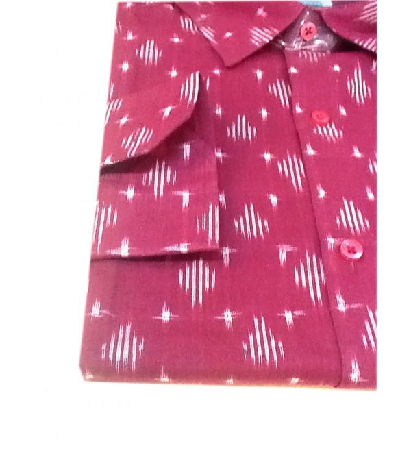 Cotton Ikat Shirt Full Sleeve Size 44 Inch