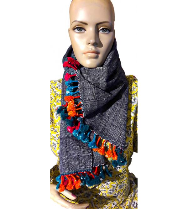 Woollen Hand  Woven Shawl in Gujarat Size,40X80 Inch