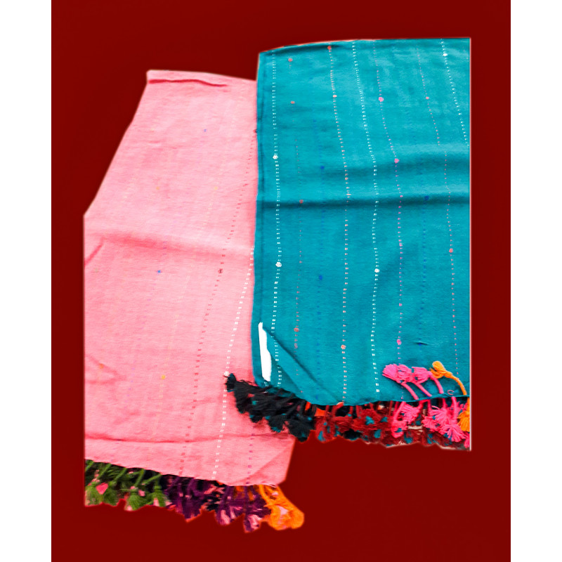 Woollen Tapa Design Handwoven Stole From Gujrat Size, 28x80 Inch