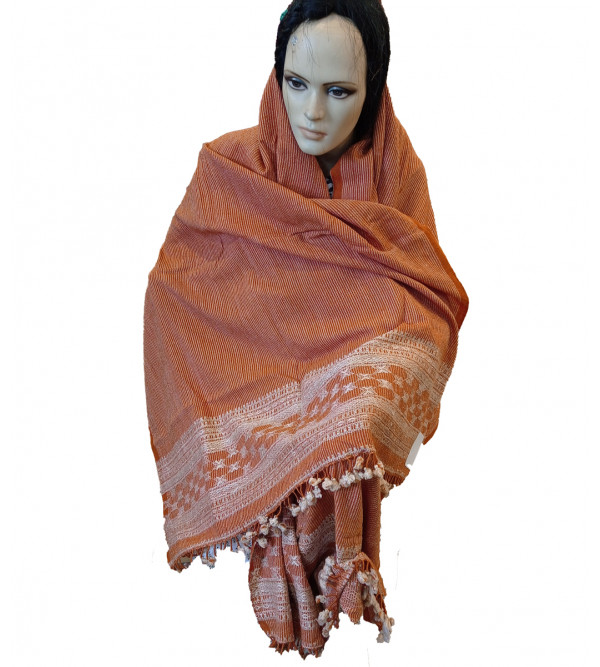 Silk Wool Shawl Handwoven In Gujrat Size, 38x84 Inch