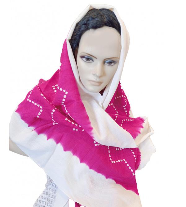 Woollen Tie & Dye Stole Handwoven In Gujrat Size, 28x80 Inch