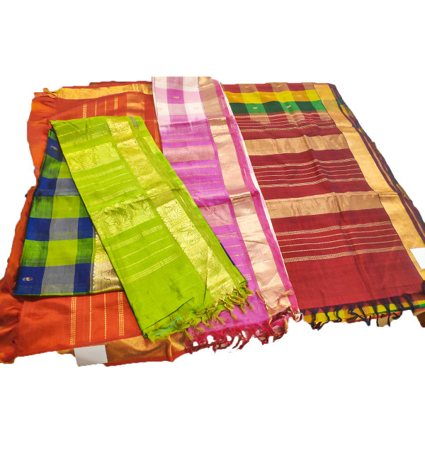 SAREE SICO GADWAL 1 INCH MULTI CHECK