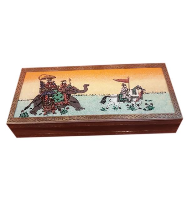 BOX MARBLE PAINTING  RAGNI DESIGN 1 FIGURE SHEESHAM WOOD