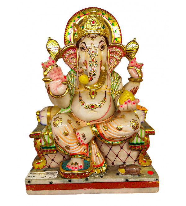 Marble Carved With Gold Leaf Ganesha Statue Size 22 Inch