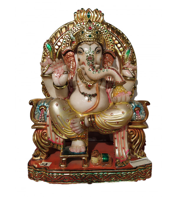Marble Carved With Golden Painting Ganesha Statue Size 50 Inch