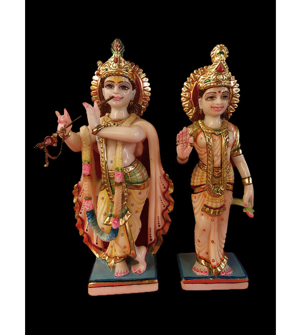 Marble Carved With Gold Leaf Radha Krishna Figure Size 12 Inch