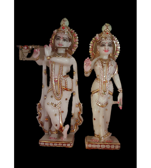 Marble Carved With Golden Painting Radha Krishna Figure Size 18 Inch