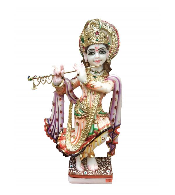 Marble Krishna Gold Leaf Work Size   Inch