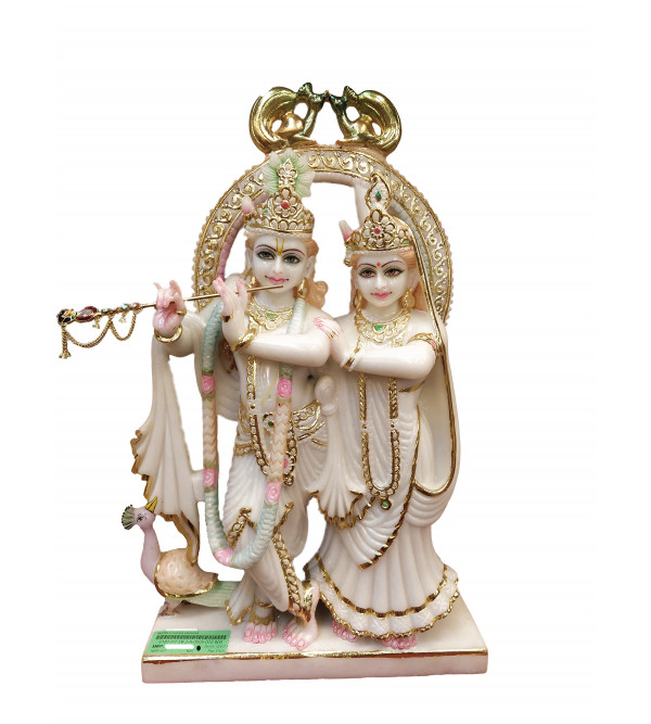 Marble Carved With Gold Leaf Radha Krishna Figure Size 28 Inch
