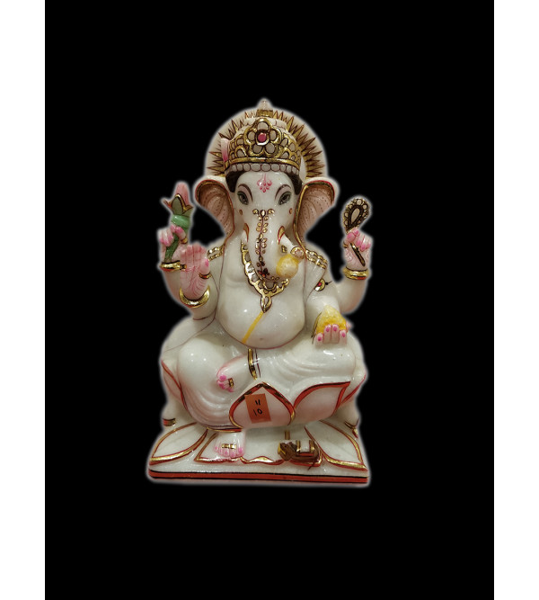 Marble Ganesh Statue With Golden Painting Size 10 Inch