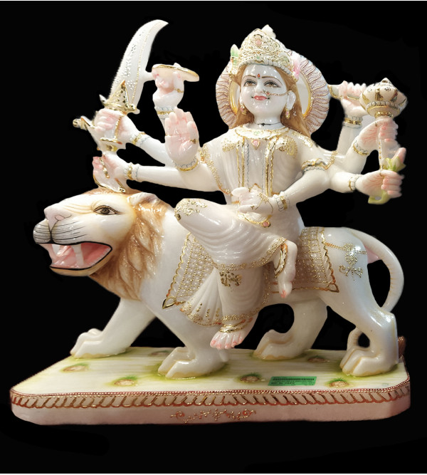 Marble Durga Devi With Golden Painting Size 22 Inch
