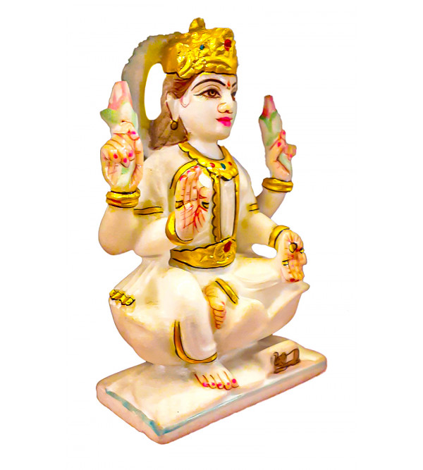 Marble Carved With Gold Leaf Laxmi Statue Size 6 Inch