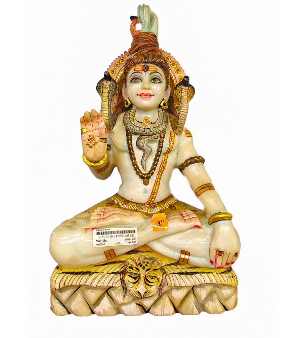 Marble Carved With Gold Leaf Shiva Statue Size 18 Inch