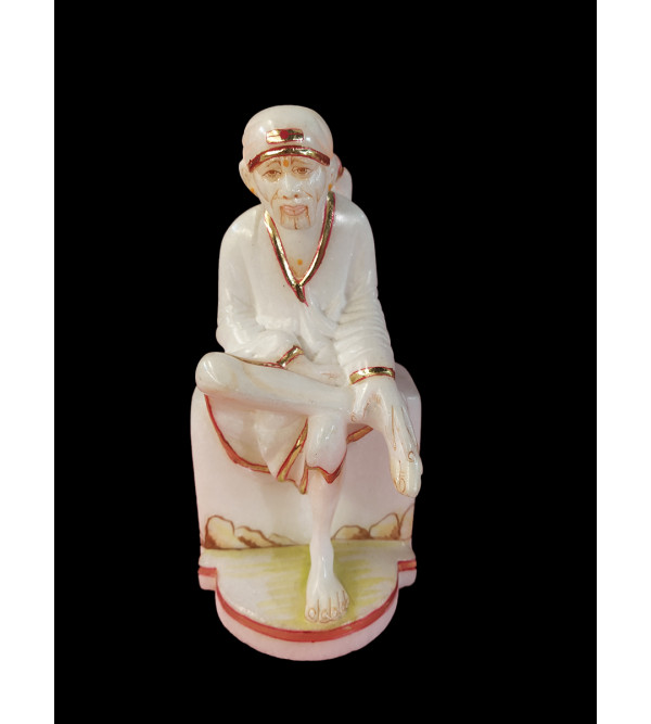Marble Carved With Gold Leaf Sai Baba Statue Size 8 Inch
