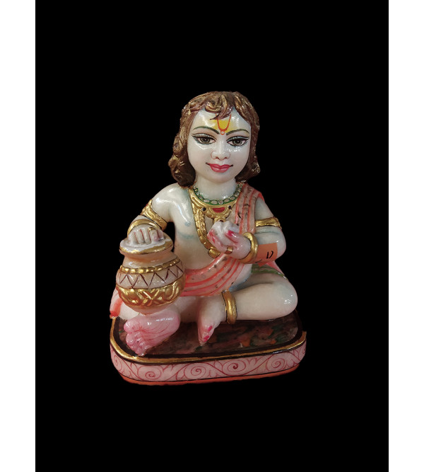 Marble Carved With Gold Leaf Krishna Figure